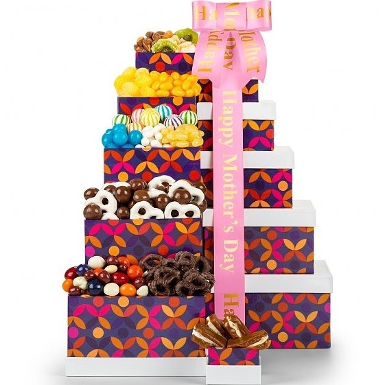 A delicious way to surprise Mom. Say Thanks Mom in a BIG way with this impressive Mother's Day Gift Tower. Each colorful box brims with delicious sweets and tantalizing treats for a tasty way to say I Love You. Six designer gift boxes stacked together me #gift