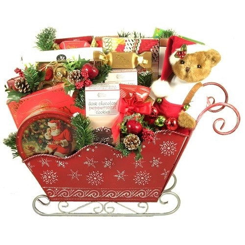 An impressive sleigh of treats over 2 feet tall and two feet wide! Designed for a Family - Standing two feet tall and over two feet wide, this GORGEOUS gift will take any family's breath away! Especially when they discover all of the amazing treats tucked #gift