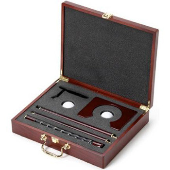 Personalized Putter Golf Gift - Convey you're thanks to champion groomsmen with this elegant executive golf set. Lustrous wood case, augmented with brass handle, features an engraved brass plate that scores a hole in one. #gift