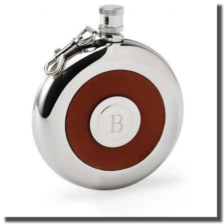 Personalized Leather Flask & Shot Glass - Contemporary design meets modern technology with this handsome stainless steel pocket flask. Leather center, embossed with a braided pattern, holds a personalized removable shot glass that easily pops in and out w #gift