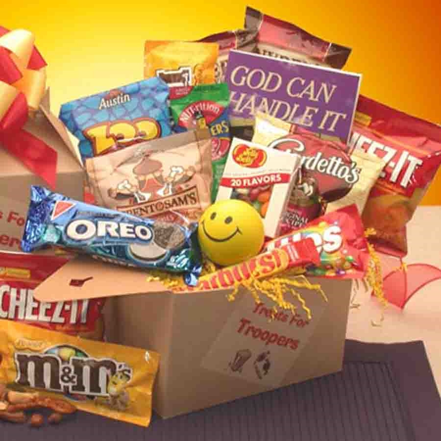 Send your soldier a little gift of inspiration! This care package delivers a special message to your military loved one. Over 100 pages of uplifting stories, quotes and verses, will share your faith, hope, and love in God Can Handle It. Assorted sweets ac #gift