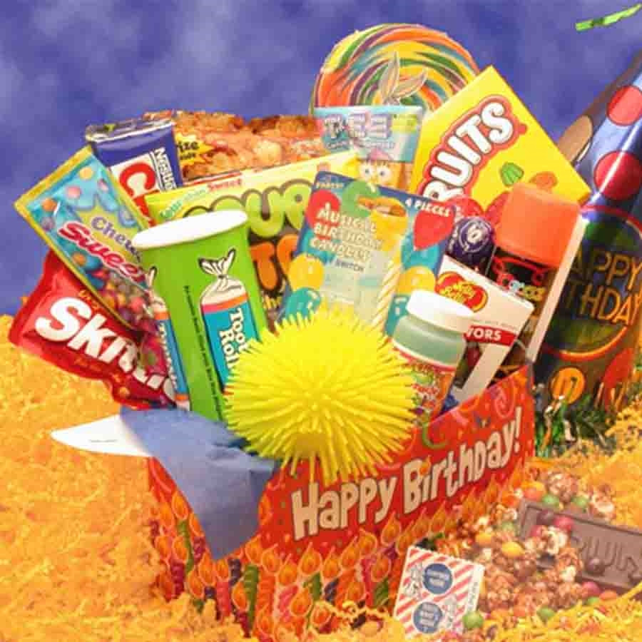 Presented in a cheerful box and full of sweet treats, savory snacks, musical birthday candles, silly string and more, this gift is perfect for kids and kids at heart alike! Package designed for shipping to military addresses, colleges and P O Boxes. Gift #gift