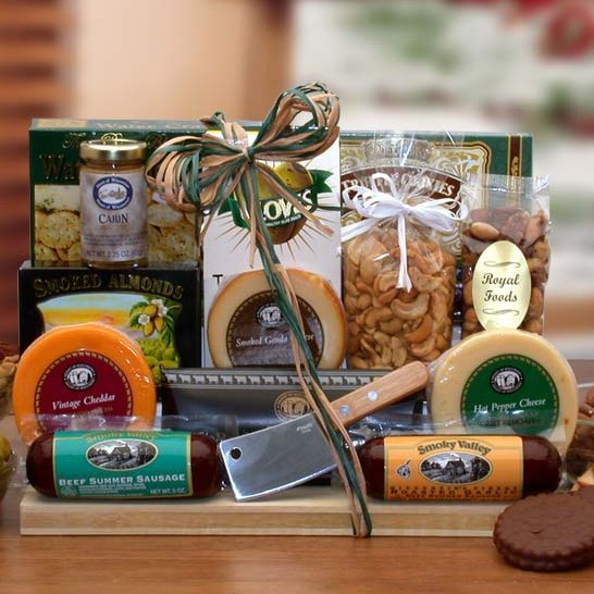 Features a wooden handled meat cleaver and cutting board. Those who appreciate the finer things in life will savor this collection of delightful gourmet indulgences and savory snacks. We've included a wooden handled meat cleaver for slicing his gourmet sa #gift