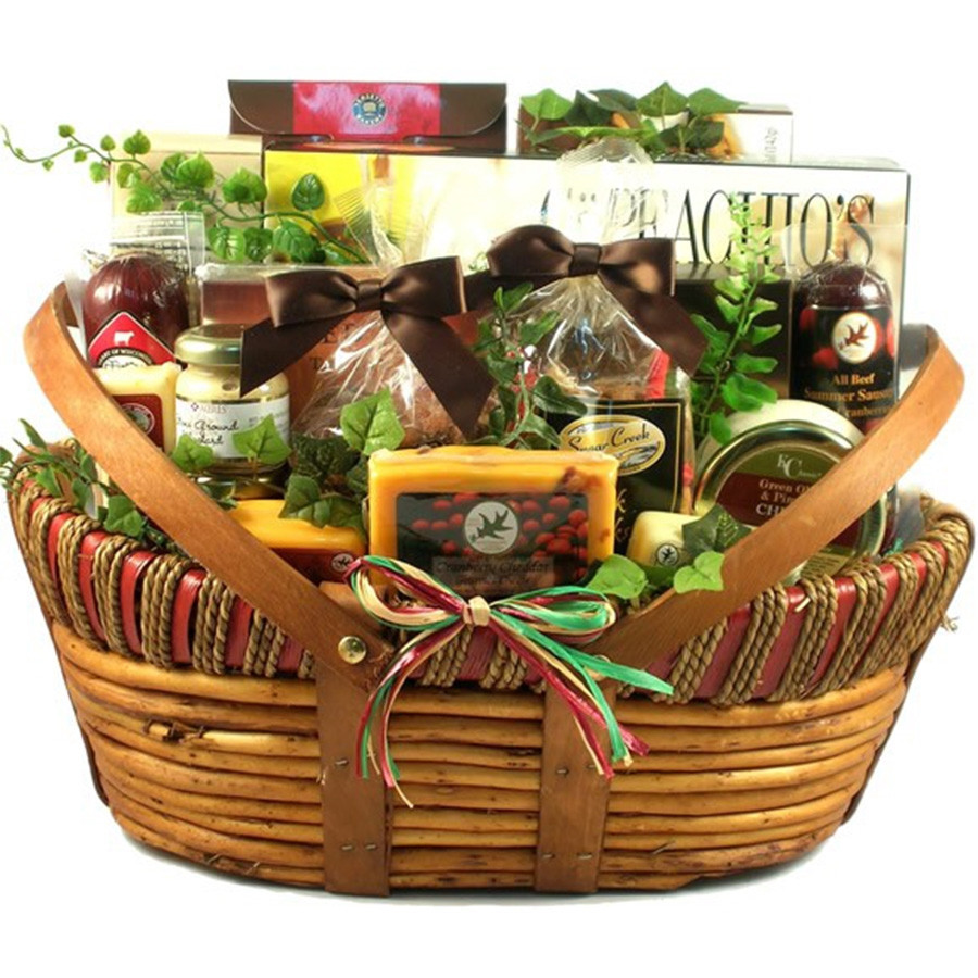 Our best seller in a Deluxe Size. This Basket has been a Gift Basket Village Best Seller since we introduced it in 2009! It starts with a large basket and gets piled high with a collection of crackers, gourmet cheeses, dips, nuts, meats and sweet treats. #gift