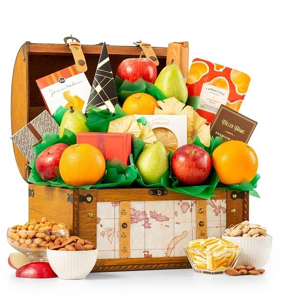 The perfect combination of fresh fruit, sweet and savory snacks and tea! This simply delicious gift basket is sure to please everyone on your gift list! The perfect combination of fresh fruit, sweet and savory snacks and tea! Indulge all of your senses wi #gift