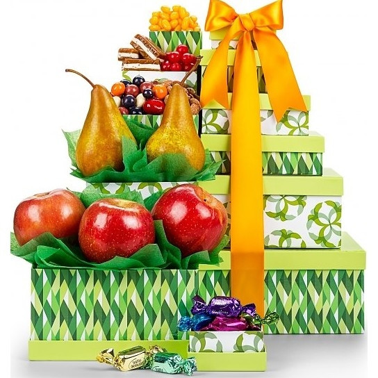 An exclusively-designed gift tower with fresh, luscious fruits, and gourmet snacks for sharing. Six exclusively-designed gift boxes proudly feature crisp Fuji apples, sweet Bosc pears, Seattle Truffles, mango jelly beans, nougat caramels, sour cherry har #gift