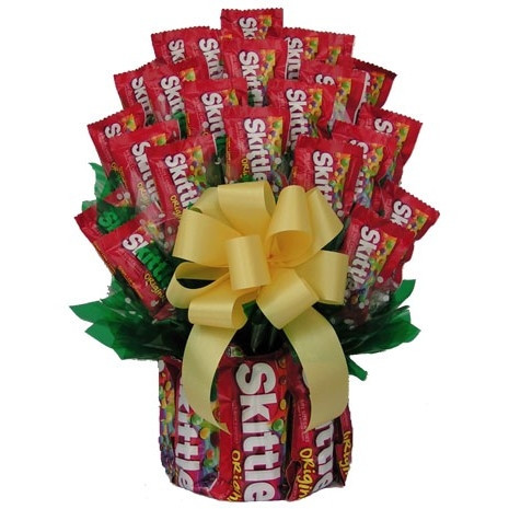 Give them a taste of the rainbow with our Skittles Candy Bouquet. This bouquet, made up of large and fun sized bags of Skittles is a sure way to brighten their day. Skittles enthusiasts will love seeing their favorite candy all wrapped up in this colorful #gift