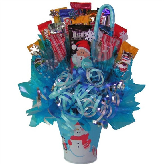 Our festive Holiday Snowman Candy Bouquet features a lovely arrangement of chocolates and candy assorted in an adorable snowman pail sure to melt their hearts even during the coldest of winters. Send it to friends or family for a tasty way to spread Chris #gift