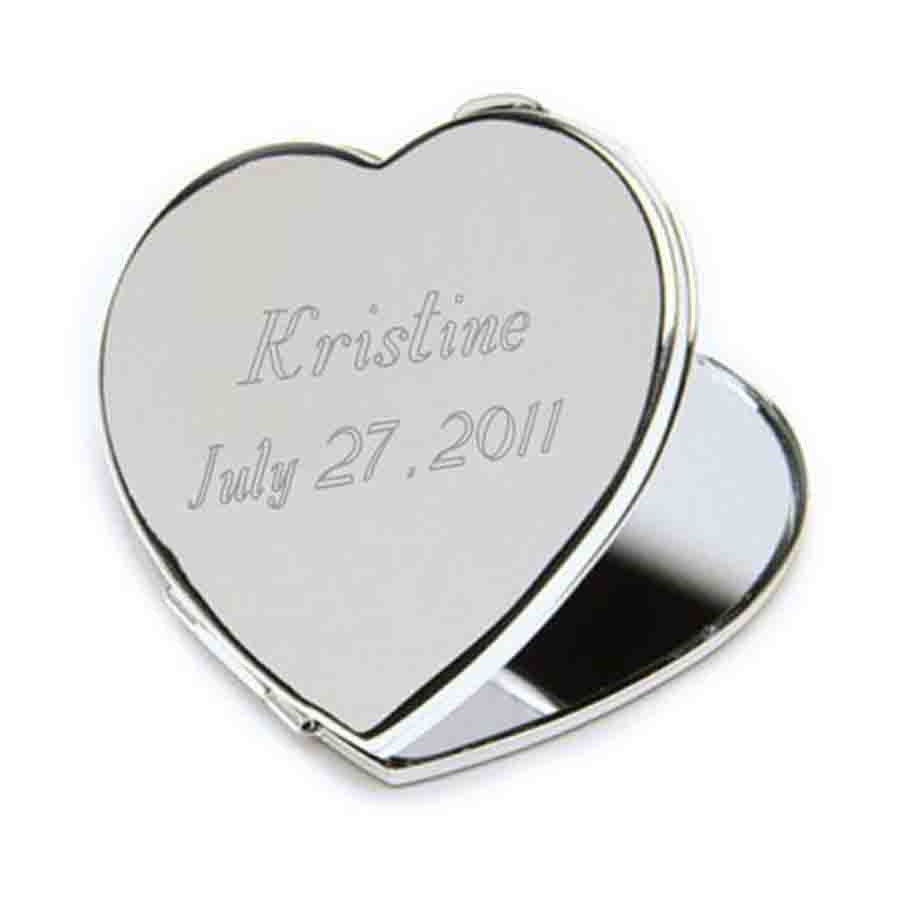 Love and vanity: how does the saying go? Intertwine the two with this sterling silver-plated heart shaped mirror, personalized on top, creating a keepsake gift to remember your special celebration by. Personalized with two lines of up to 15 characters per #gift