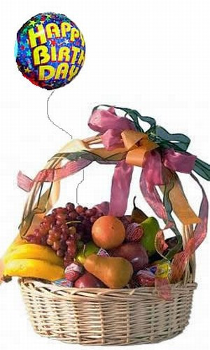 Our impressive large willow basket arrives filled with a selection of fresh seasonal fruit and assorted cheeses, and includes a Happy Birthday Mylar balloon to celebrate that special day! The fruits may include pears, apples, grapes, oranges and bananas. #gift