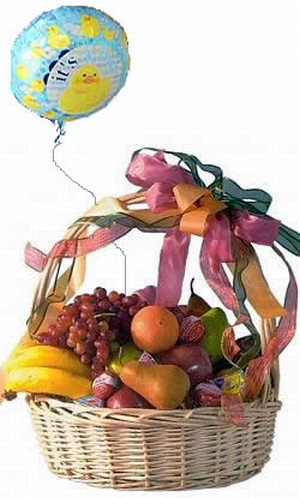 Our impressive large willow basket arrives filled with a selection of fresh seasonal fruit and assorted cheeses, and includes a New Arrival Mylar balloon to celebrate baby! The fruits may include pears, apples, grapes, oranges and bananas. #gift