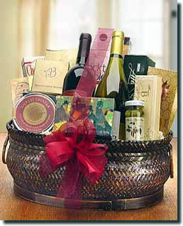 Two bottles of select wines from award winning vineyards are the focus of this basket. Other varieties are available including two whites or a combination of the two or one bottle of champagne. A variety of gourmet foods are included in the basket to enha #gift
