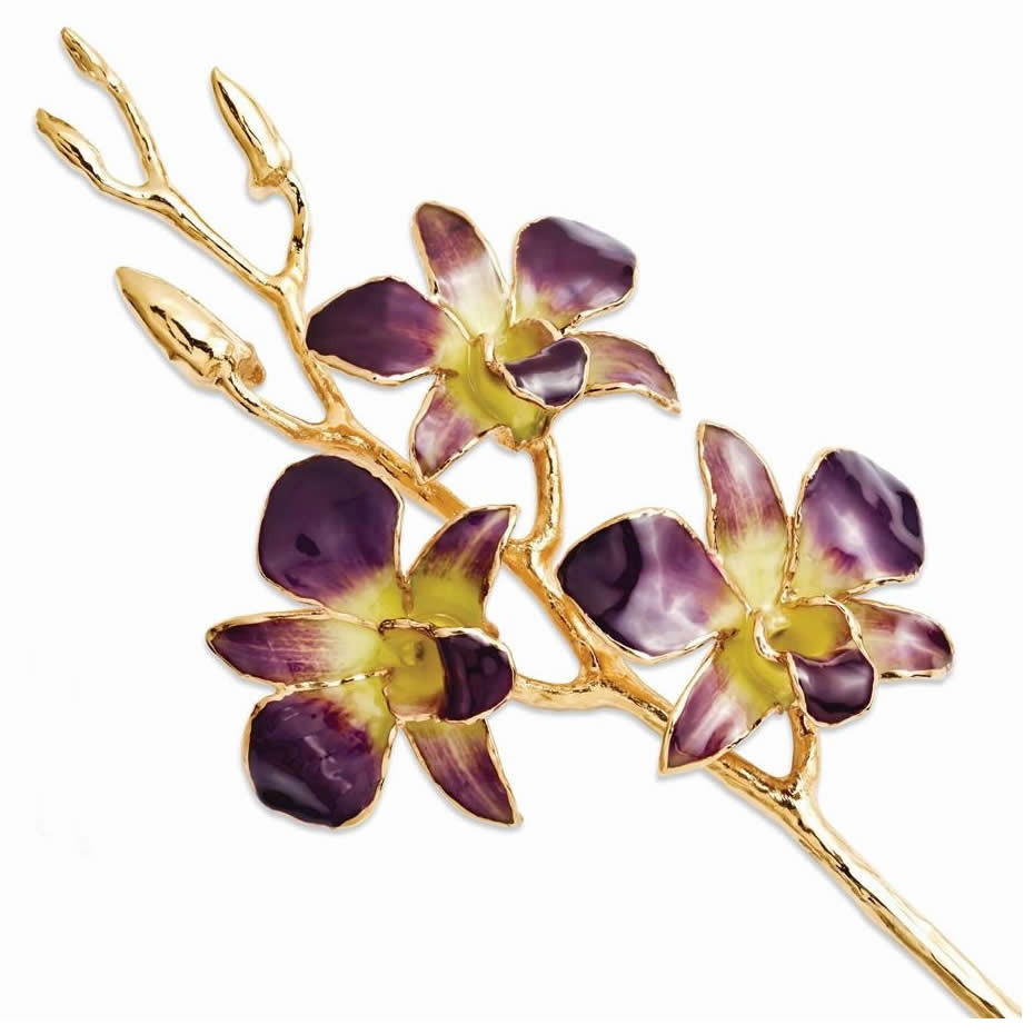 A real 11 inch Dendrobium Orchid in Lilac and Yellow, handcrafted and preserved in durable lacquer to preserve its natural color and keep its beauty of nature forever! Then finished and trimmed in genuine 24K Gold! The gold orchids are packaged in a decor #gift