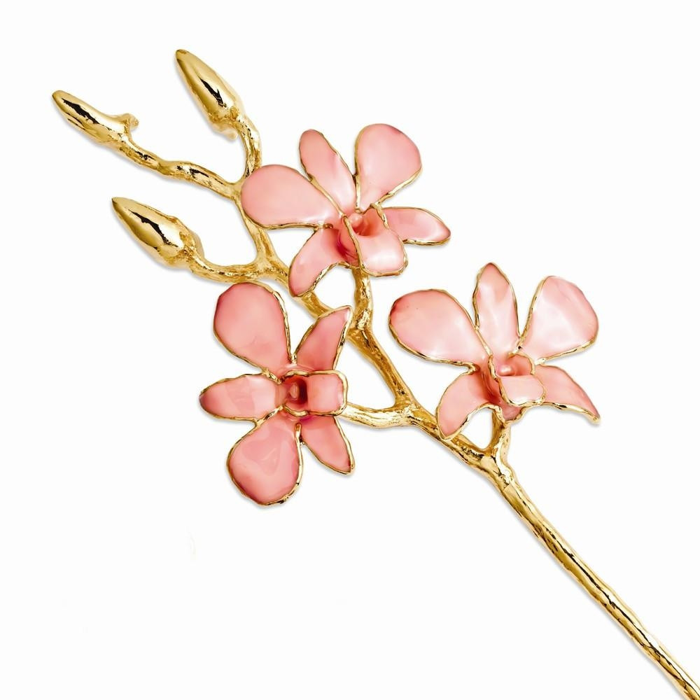 A real 11 inch Dendrobium Orchid in Violet, handcrafted and preserved in durable lacquer to preserve its natural color and keep its beauty of nature forever! Then finished and trimmed in genuine 24K Gold! Each Orchid comes with a fact sheet outlining the #gift
