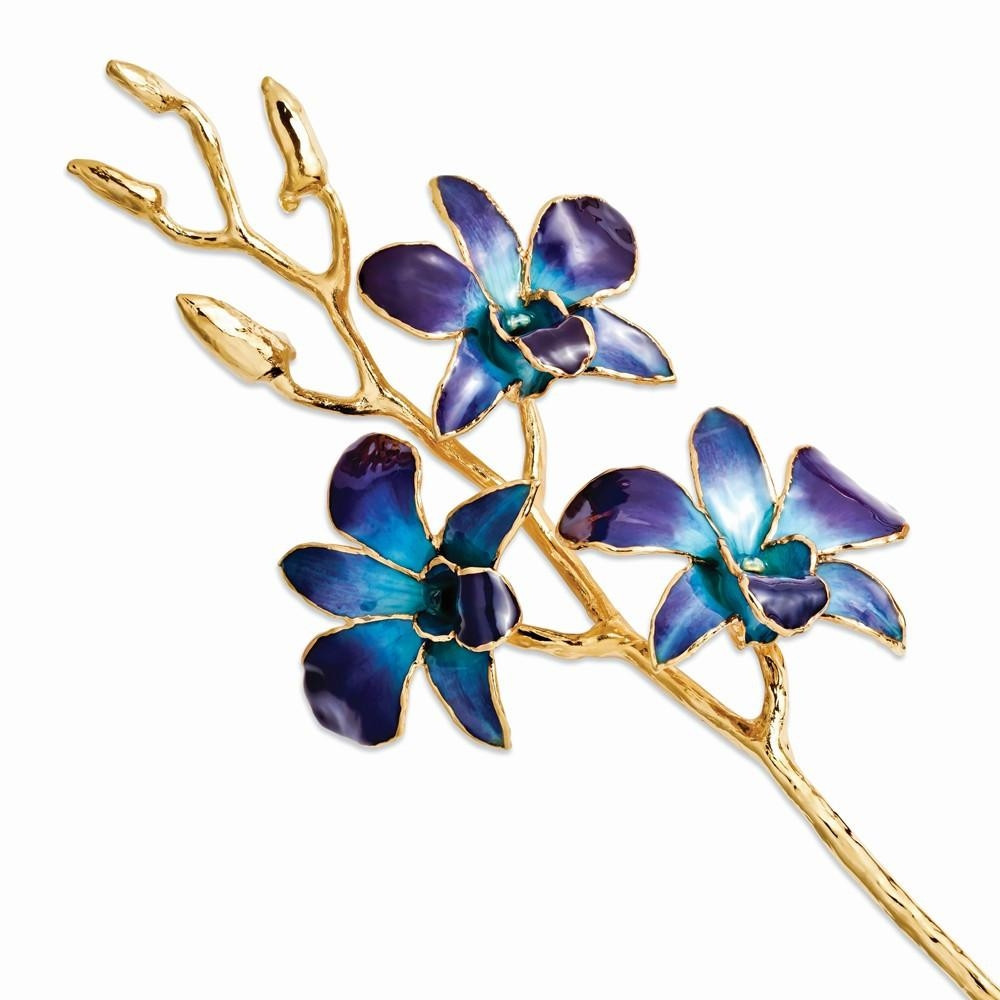 A real 11 inch Dendrobium Orchid in Lilac and Blue, handcrafted and preserved in durable lacquer to preserve its natural color and keep its beauty of nature forever! Then finished and trimmed in genuine 24K Gold! Each Orchid comes with a fact sheet outlin #gift