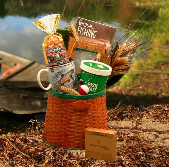 A medium-sized wicker fisherman's creel loaded with useful items and snacks for your fisherman. #gift