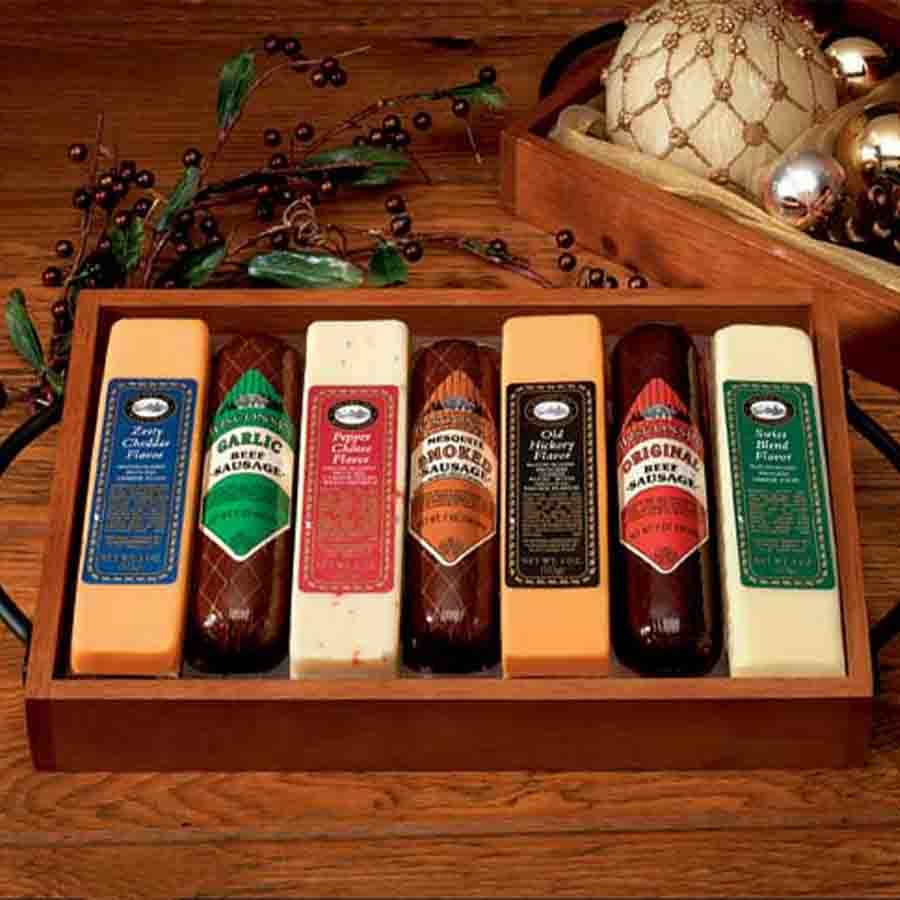Keep Dad Fueled with This Gift! We've combined this hardwood gift set with many scrumptious tastes from Wisconsin that is sure to please that certain someone. A grand slam gift for anyone! #gift