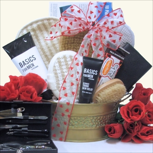 Send your guy this unique, masculine grooming gift basket for all his grooming needs! It includes a great selection of Men's Bath and Shaving Products as well as a 10-piece Manicure Grooming Set and a little gourmet treat - Harry & David's Milk Chocolate #gift