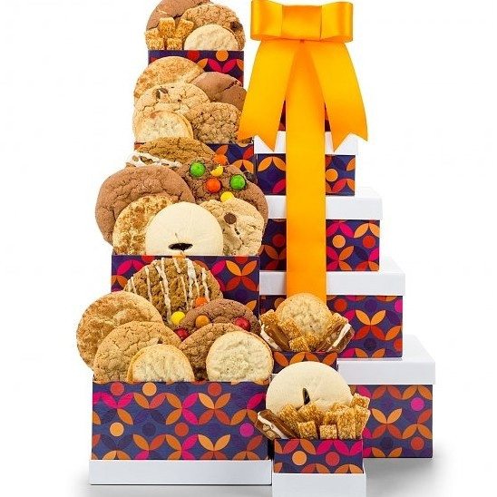 Fresh basked cookies all dressed up to impress. Make any occasion doubly fun with one dozen delicious cookies in a colorful two-box gift tower.21 all-natural gourmet cookies and filled shortbreads accompany pecan nougat caramels, sesame honey candies, and #gift