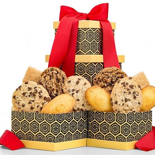 One dozen fresh basked cookies ready for the holidays. Gourmet cookies are freshly baked using only the finest premium ingredients like Belgian chocolate and fine cake flour. Presented in a vibrant two-box tower, it's a sweet gesture for any occasion. In #gift