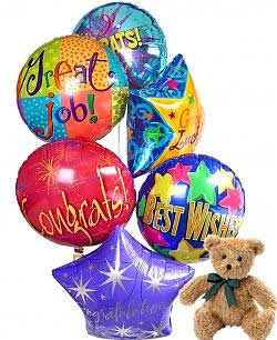 Graduation Balloons & Teddy Bouquet. This bunch of 6 Graduation & Congratulations Themed balloons, combined with a plush teddy bear, is the best way to really convey your sincere wishes of Congratulations to a graduate. Delight someone special today! Grad #gift