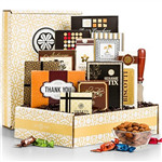 Camembert cheese, Italian biscotti, truffles and more. Gourmet cheese, truffles, nuts, cookies and more are showcased in this memorable thank you gift. Packaged in a exclusively-designed mailer with a thank you theme, it's the perfect gift to leave a memo #gift