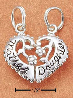 Show your love with this wonderful gift for mom. She'll love this sterling silver split heart charm that features the text mother daughter with flowers in the middle. Break it in two and keep one side and giver her the other or just let her have the whole #gift