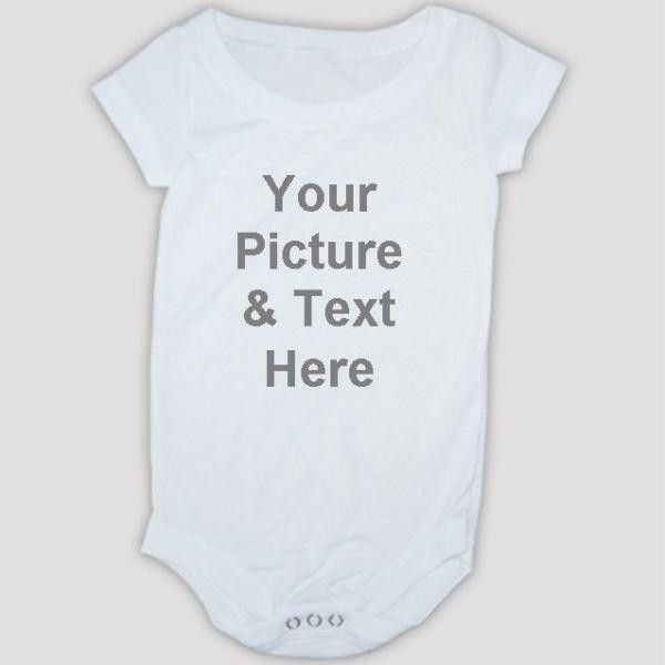 White one-piece basic performance spun polyester Onesie baby bodysuits. Upload your photo picture to create a personalized baby bodysuit. #gift