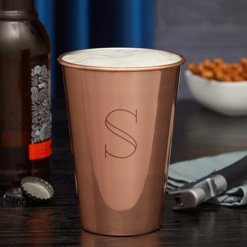 Consider yourself lucky that you've stumbled across this brilliant engraved stainless steel and copper glass. Made in the style of a traditional beer pint, these sturdy tumblers are perfect for craft brew, mixed drinks, or even iced tea. Made from 18/8 p #%20