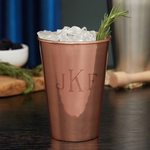 For the last decade, metal tumblers have made a big comeback, and our classic monogram 20-ounce copper cup is one of the most stylish examples. Hewn in the shape of a classic bar glass, these strong tumblers are ideal for cocktails, soft drinks, and even #%20