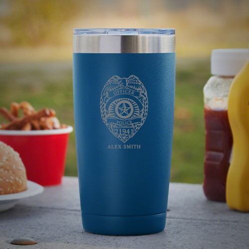 From hot coffee in the morning to cold beer when you get off duty at night, police officers should set their radar on this handy custom Yeti-style tumbler. Made from hard-wearing 18/8 stainless steel, these travel mugs are ready to serve and protect any #%20