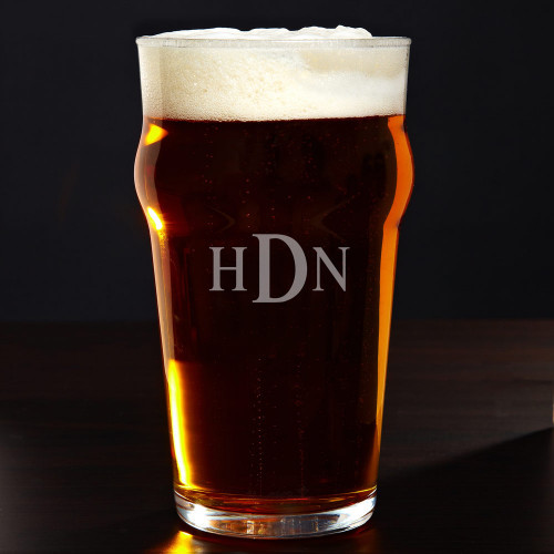 A handsome gift that will please any guy, our personalized pub glass is made out of high-quality glass and features a distinct bulge around the middle for improved grip while drinking (you know you need it!) and easy stacking ability in your cabinet or ho #%20