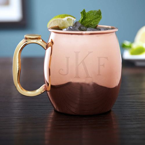Are you a Moscow Mule enthusiast? Give your copper plated friend a personal touch with our Classic Monogram Moscow Mule Mug. Holding a generous 20 ounces, this copper mug features a stainless steel interior making it easy to clean so you will want to use #%20