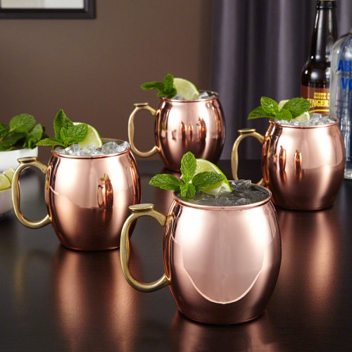 Provide your home bar with the means to entertain all your friends with our set of four Moscow Mule mugs. Copper plated, and lined with stainless steel, these mugs are not only ideal for your Moscow Mules but for any homemade cocktails. Keeping your drink #%20